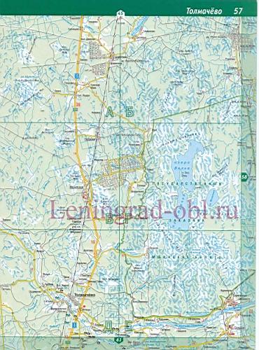 карта автомобильных дорог с посёлками ленинградской области